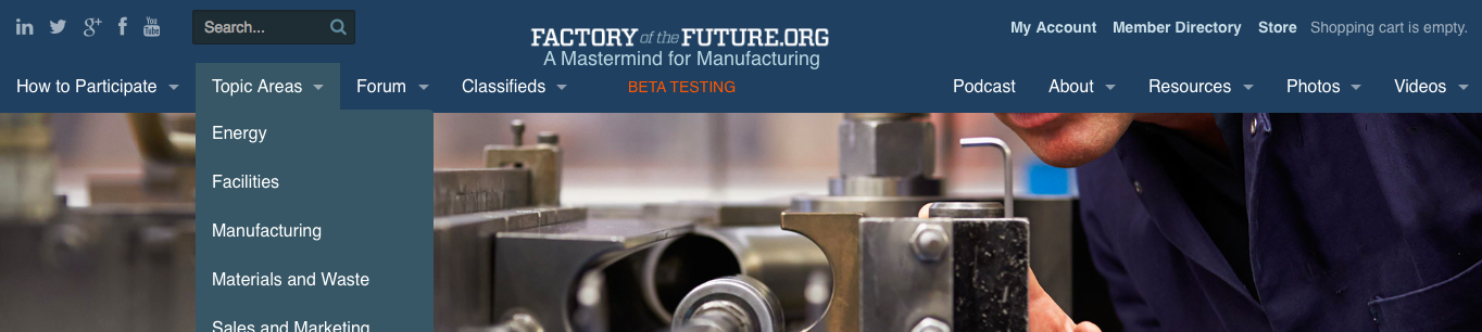 FactoryoftheFuture.org hompeage screenshot