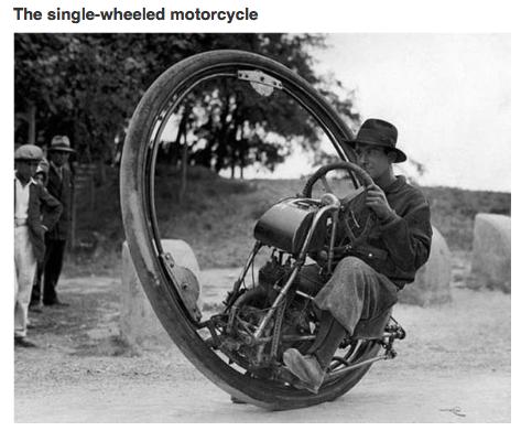man riding a gas-powered Monowheel
