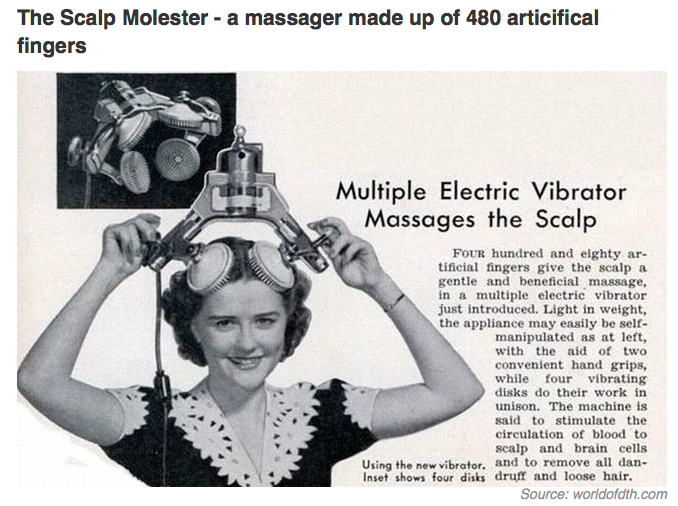 1950s electronic consumer scalp massage machine on top of womens head