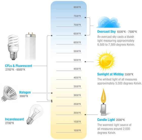 LED lighting in Factories. Color chart showing lightbulb colors and their temperature in degrees Kelvin